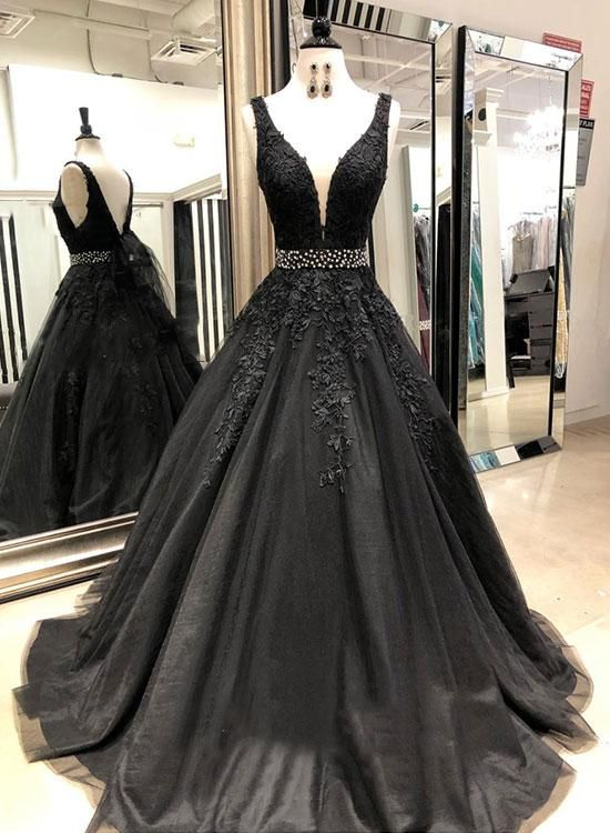 e9af63b610f Black v neck tulle lace long prom dress