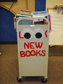 "Can't miss the ""new books"" sign with these gigantic googly eyes."