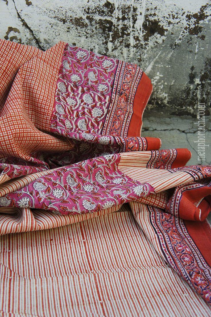 Block printed khadi saree . | Metaphor