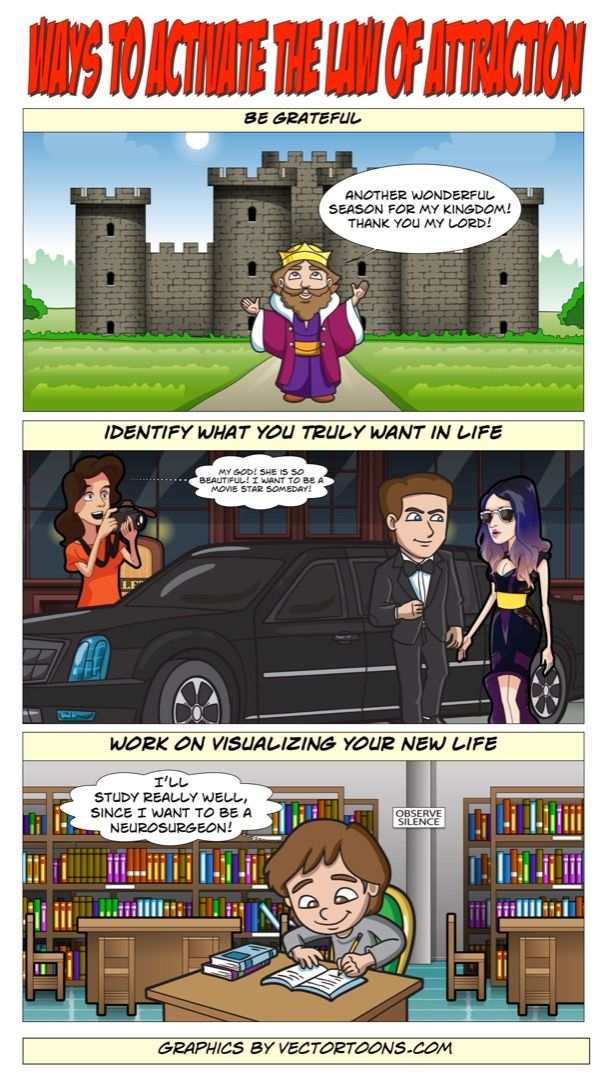 Ways To Activate The Law Of Attraction #comic #cartoon #article #clipart