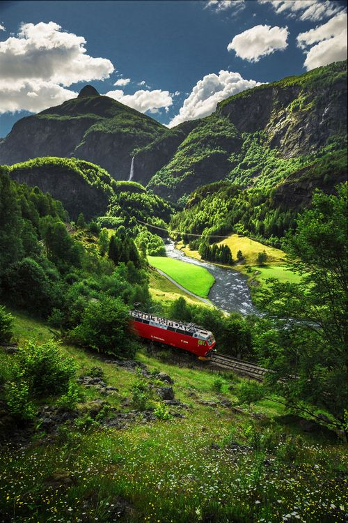 """The exciting descent on the famous Flam Railway in Norway. Experience this dramatic drop from mountaintop to fjord in the """"Norway In A Nutshell""""."""