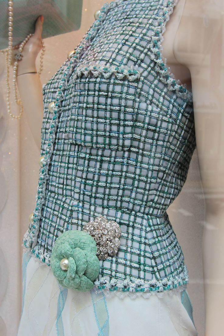 "Claire Shaeffer: ""And now for something different--window shopping on Old Bond St., London. This is a Chanel window. The plaid design is beaded."""