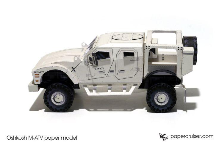 Oshkosh M-ATV paper model | http://papercruiser.com/downloads/oshkosh-m-atv-mrap-paper-model/