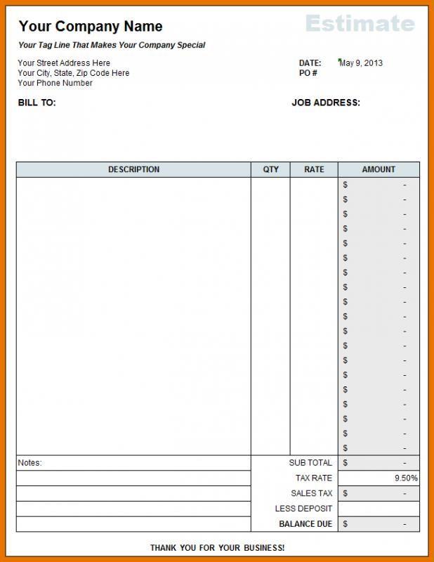 Free Construction Estimate Template Excel