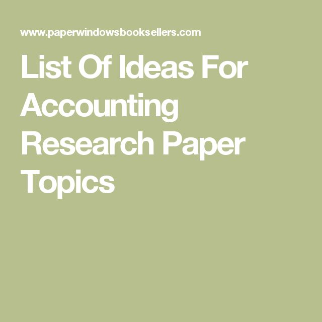 accounting research paper