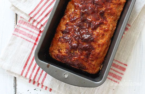 Turkey Meatloaf- Serve this with some garlic mashed potatoes and a vegetable for a complete meal.       Turkey Meatloaf  Skinnytaste.com Servings: 4 servings • Serving Size: 1/4 • Points +:7 pts •Smart Points:5 Calories: 258.8 • Fat: 5.1 g • Protein: 37 g • Carb: 14 g • Fiber: 1.4 g   Ingredients:  1/4 cup plus 2 tbsp ketchup (I use organic) 2 tsp worcestershire sauce 1/2 small...