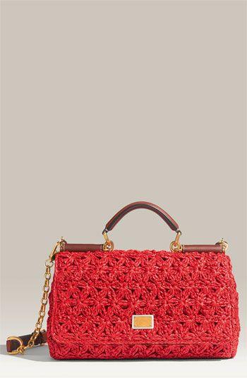Dolce & Gabbana 'Miss Sicily - Small' Bubble Raffia Satchel, $1525