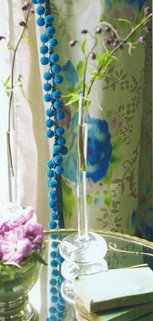 pom pomsPom Poms, Design Guild, Living Room Curtains, Pompom, Windows Dresses, Blue Hues, Guild Pretty, Floral Curtains, Tricia Guild