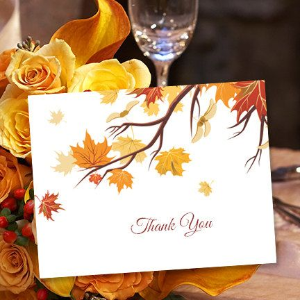 Printable Thank You Card Template Falling Leaves Tent Style Microsoft Word W Editable Text Box Instant Download Fall Theme DIY Print