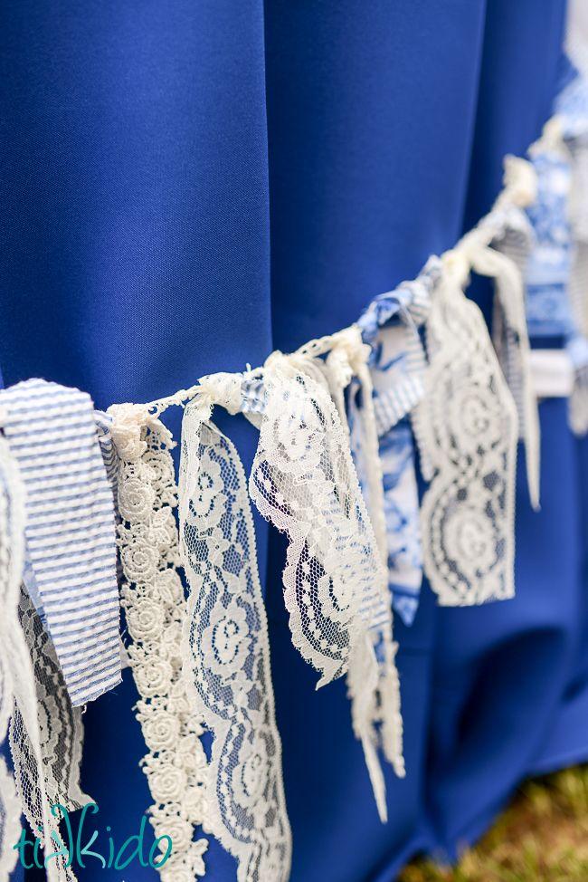Easy No Sew Shabby Chic Party Garland | Tikkido.com