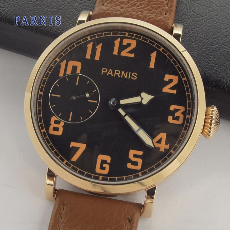 107.00$  Buy here - http://alidh2.worldwells.pw/go.php?t=32776557890 - 46mm Parnis Men's Wristwatch Crystal Brown Leather Strap Mechanical Hand Wind Watch Black Dial with Orange Numbers
