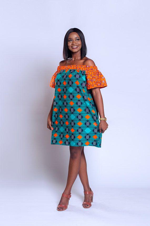 Ankara-épaule robe baby-doll robe imprimé africain vêtements