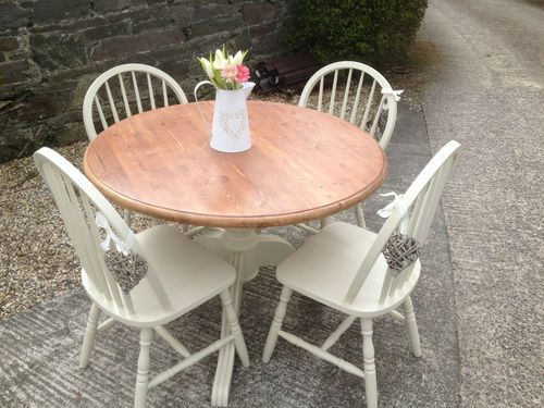 Details about solid pine round dining table 4 chairs, painted shabby chic  farrow and ball