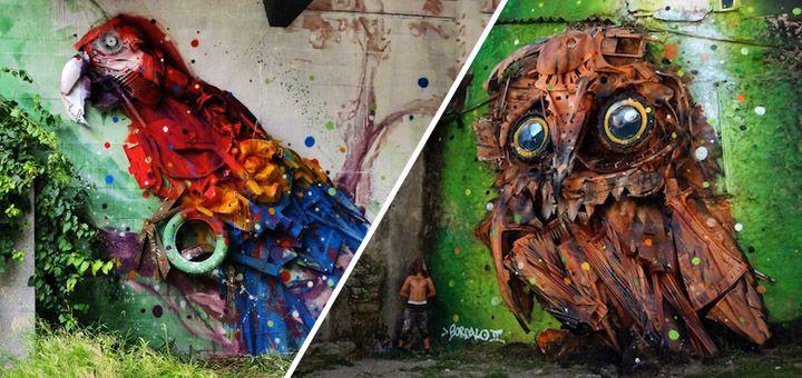Umělec vytváří unikátní street art v ulicích Portugalska z odpadků