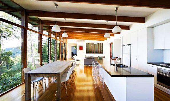 Architecture, Wonderful White Kitchen Design At Storrs Road Residence Wood Floor: Modern and Eco-friendly Home Design Ideas