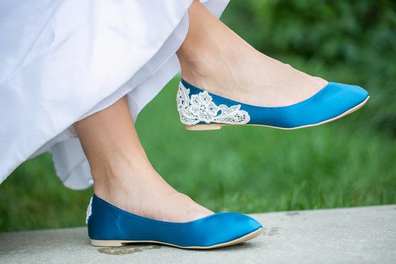 Wedding Shoes - Teal Wedding Flats, Blue Wedding Shoes with Ivory Lace. US Size 9