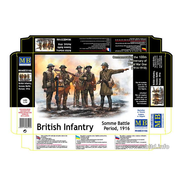 1/35 Masterbox WWI BRITISH INFANTRY SOMME BATTLE PERIOD 1916  #35146 #Masterbox