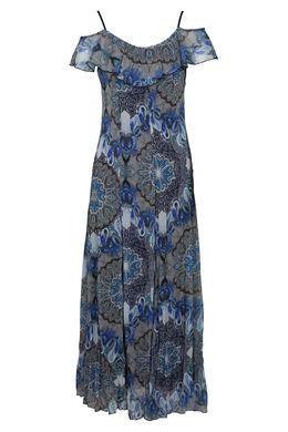 Lange jurk in voile met print, Blauw | Cassis