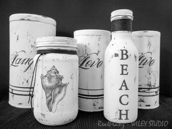 "These painted bottles & tins look so great! I'm especially impressed by the ""Live, Laugh, Love,"" which are made from old Teavana tins! This is the sheer definition of upcycling."