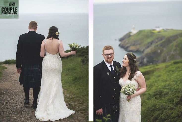 The bride & groom head to Howth summit for some amazing photos by the cliffs. Wedding in The Abbey Tavern, Howth. Photographed by Couple Photography.
