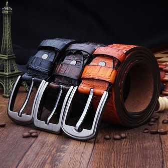 Only US$11.98 , shop 120CM Mens Belt Genuine Leather Crocodile Pin Buckle Alligator Strip at Banggood.com. Buy fashion Belts online.