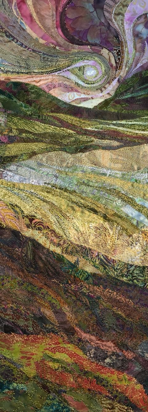 Landscape embroidered textile by Rachel Wright.