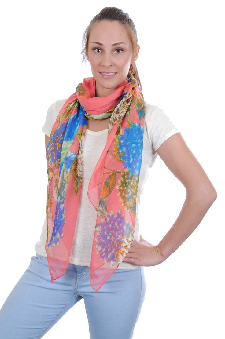 Celia-Set of 6-3 ass colours-Scarf, large rectangular with large floral design on single colour ground design-180 x 80-100% Viscose