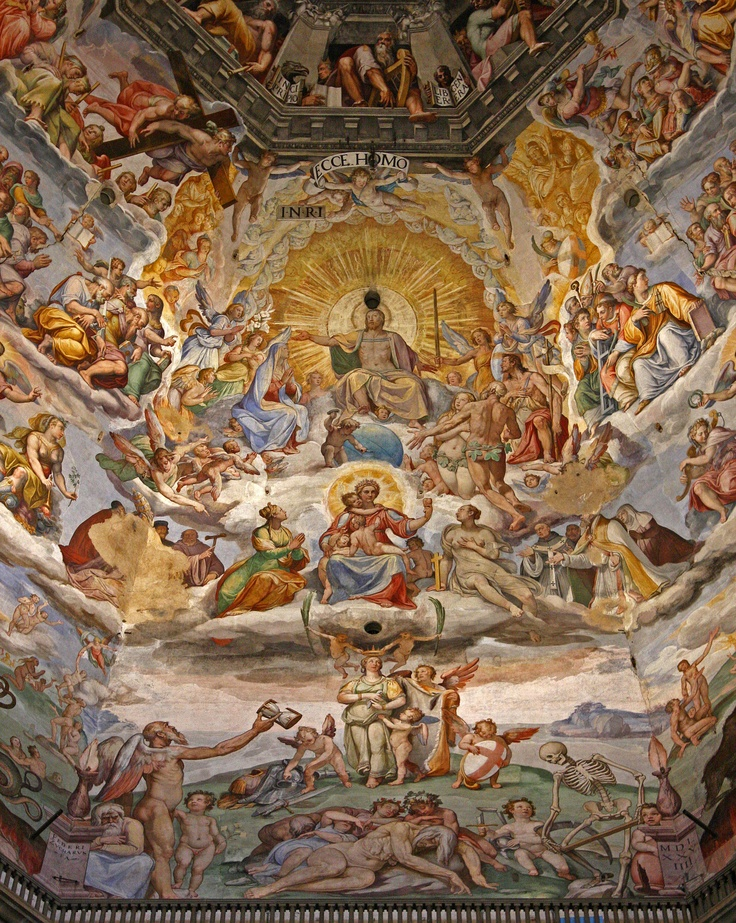 (detail) The Last Judgement by Giorgio Vasari (1511-1574)  il Duomo,  Santa Maria del Fiore, interior fresco paintings of Brunelleschi's dome.  Florence, Italy