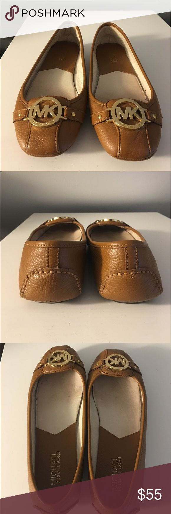 Michael Kors Luggage Fulton Flats Michael Kors Luggage Fulton Flats. Size 8.5. Worn twice. Great condition other than bottom sole is scufffed...cannot see when wearing. Every pair of mine have done this...see picture 4. MICHAEL Michael Kors Shoes Flats & Loafers