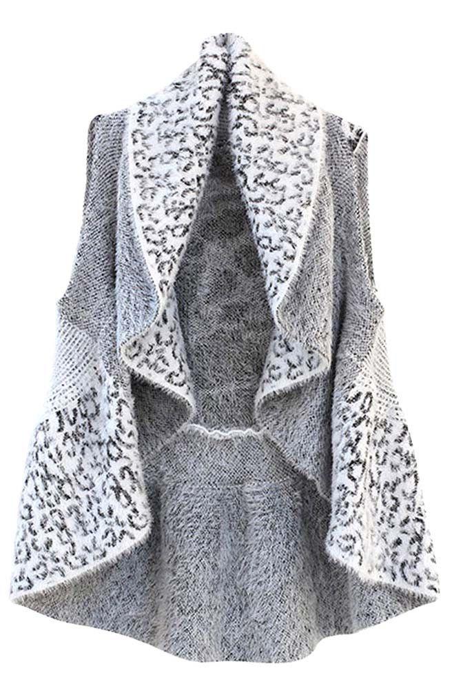 Leopard Fuzzy Knit Draped Sweater Vest