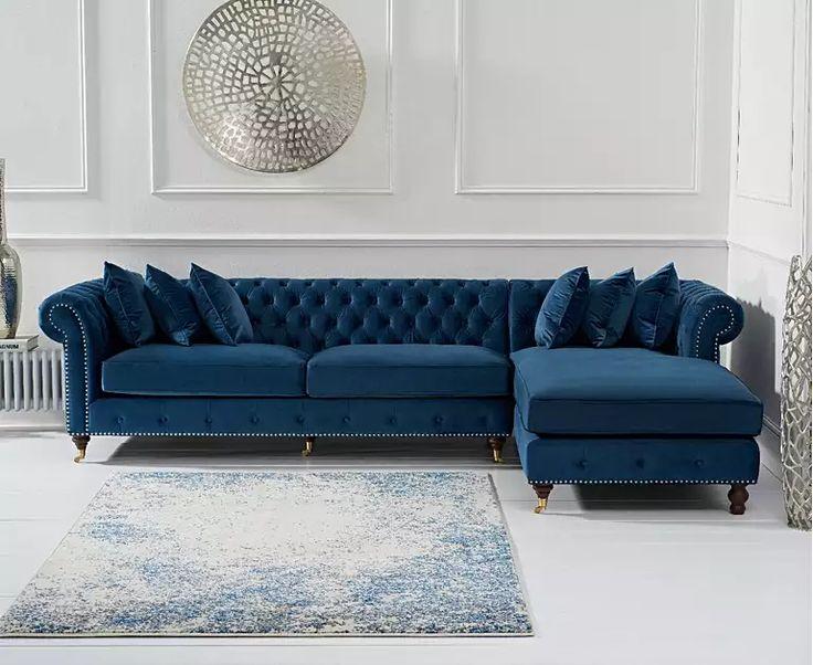 Flora Blue Velvet Right Facing Chaise Sofa Corner Sofas
