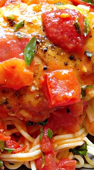 Basil Garlic Chicken with a Buttery Tomato Sauce  ❊