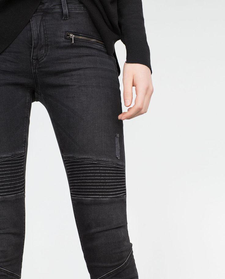 PANTALON BIKER TAILLE NORMALE-Skinny-Pantalons-FEMME | ZARA France