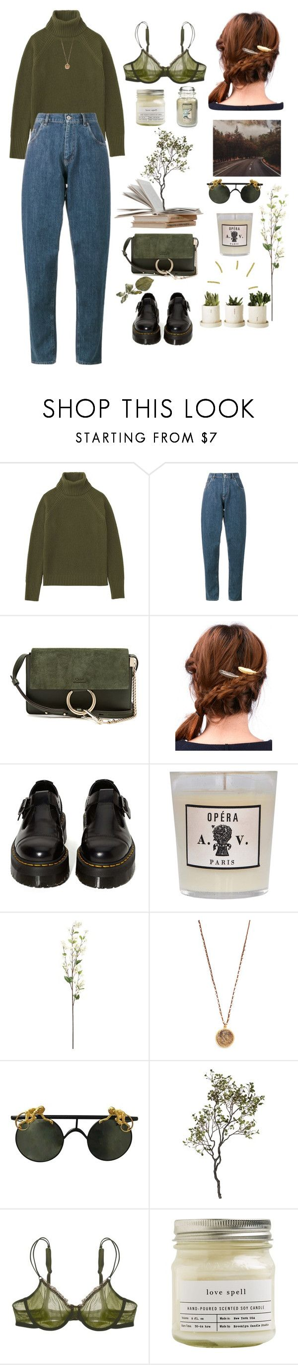 """59. Let's go home."" by analiencreature ❤ liked on Polyvore featuring Uniqlo, Miu Miu, Chloé, WithChic, Dr. Martens, Astier de Villatte, Native Gem, Crate and Barrel, Cosabella and Brooklyn Candle Studio"
