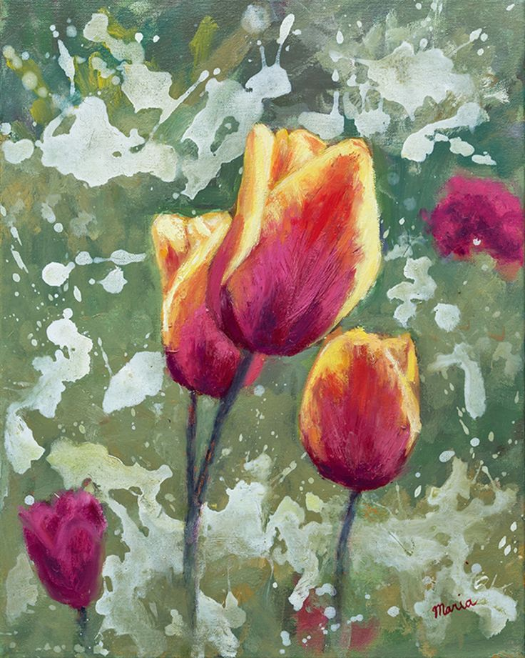 Maria Meester - Tulpen in mijn tuin Olieverf schilderij