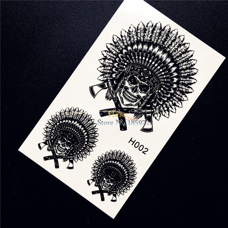 1PC New Black Temporary Tattoo Sticker Indian Tribal Skull Feather Ax Design Waterproof Fake Tattoo For Men Women Body Art HH002