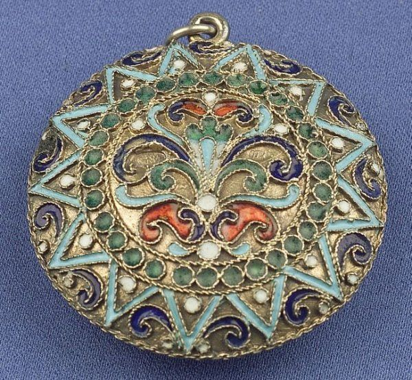 Silver Gilt and Enamel Compact, Russia,