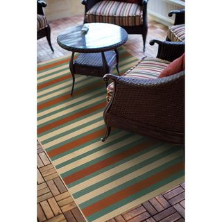 Blue/ Orange Outdoor Area Rug (2u00275 X 4u00275)