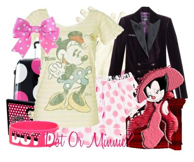 """""""♥Dot Warner Or Minnie Mouse?"""" by tshirtsuperstar41 ❤ liked on Polyvore featuring Versus, Betty Boop, Disney, Hot Topic, pink, dot, warner and minnie mouse"""