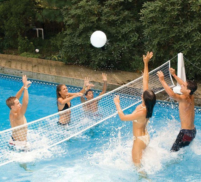 Come to our Outdoor Family Pool to play some pool volleyball!