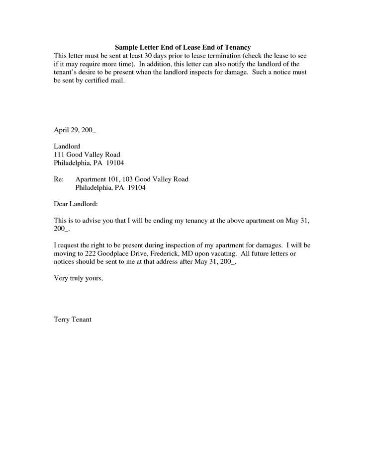 rental agreement termination letter sample lease landlord