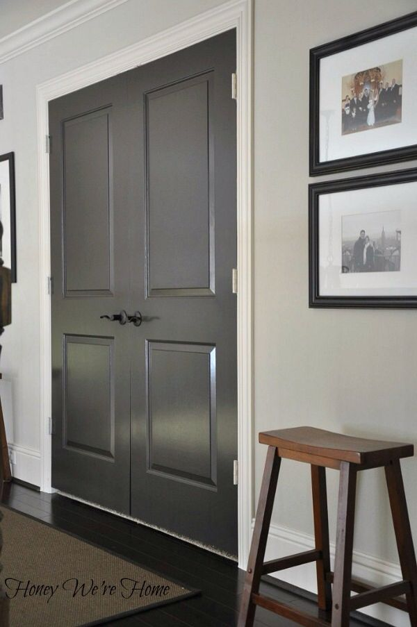 Door color is Black Fox in semi-gloss Sherwin Williams. Shut the door! This is for the front door, inside and out.