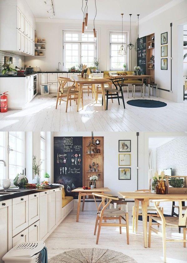 cuisine et salle à manger scandinaves à touches champêtres