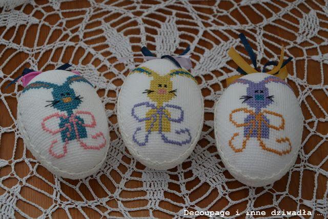 decoupage i inne dziwadła ...: Haftowane jajka w zajączki