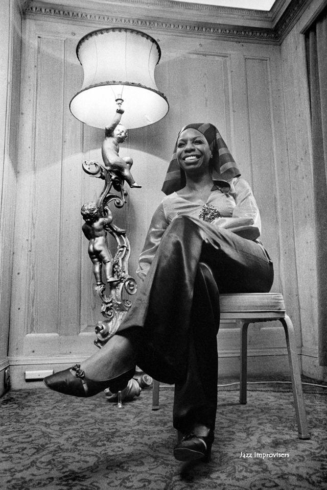 Nina Simone 1969 © Barrie Wentzell Egyptian headdress + Rococo lamp