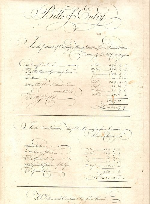 18thC. Bill of Entry, 1735/50. Designed to show clerks how to write Invoices, Bills of Parcel, Bills of Entry etc.