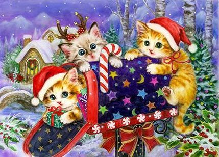 Pin By Nicole Specht On Cats Christmas Amp Winter Art