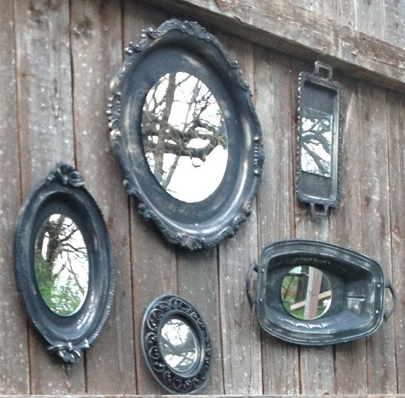 Ornate Black Mirror Wall Grouping  5 Piece by ReFeatherYourNest, $99.00