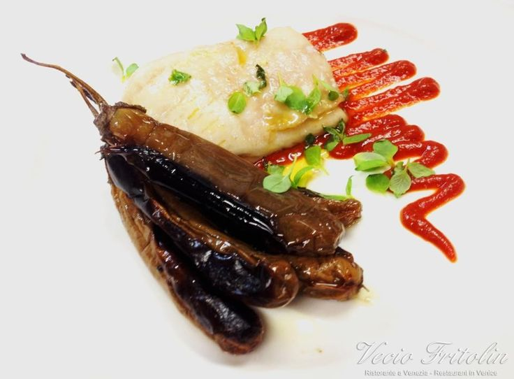 Grey Mullet with Perlina Aubergines and Tomato Salsa