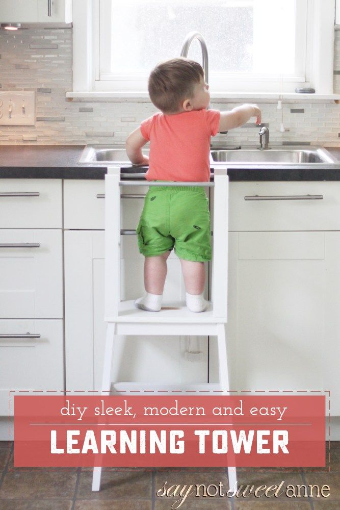 Easy DIY Learning tower! Start with an Ikea stool, add 7 dowels and 4 boards! Perfect height for little table helpers. | Saynotsweetanne.com